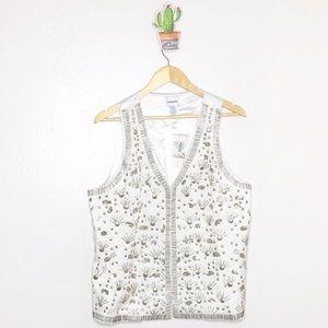 Chico's White Embellished gold beaded boho vest